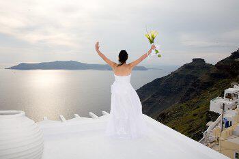 wedding santorini caldera wedding bride gamos - Γάμος σε νησί - Σαντορίνη