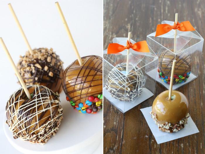 Caramel apples in clear boxes - Καραμελωμένο μηλαράκι… τέλειο γλυκάκι να συνοδεύσει τη μπομπονιέρα!