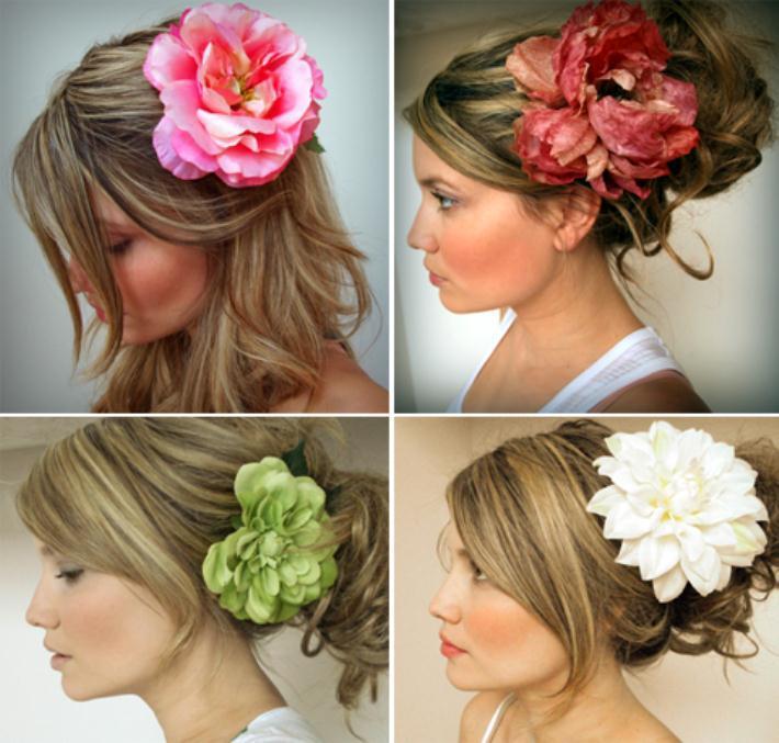 bridal silk flower hair clip pin - Νυφικά χτενίσματα με λουλούδια στα μαλλιά