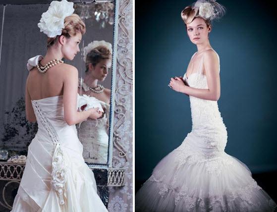 silk white classic wedding dresses floral applique blonde bride - Νυφικά χτενίσματα για Ξανθά μαλλιά
