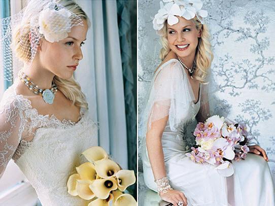 the blond bride perfect white wedding dress hue vintage birdcage veil - Νυφικά χτενίσματα για Ξανθά μαλλιά