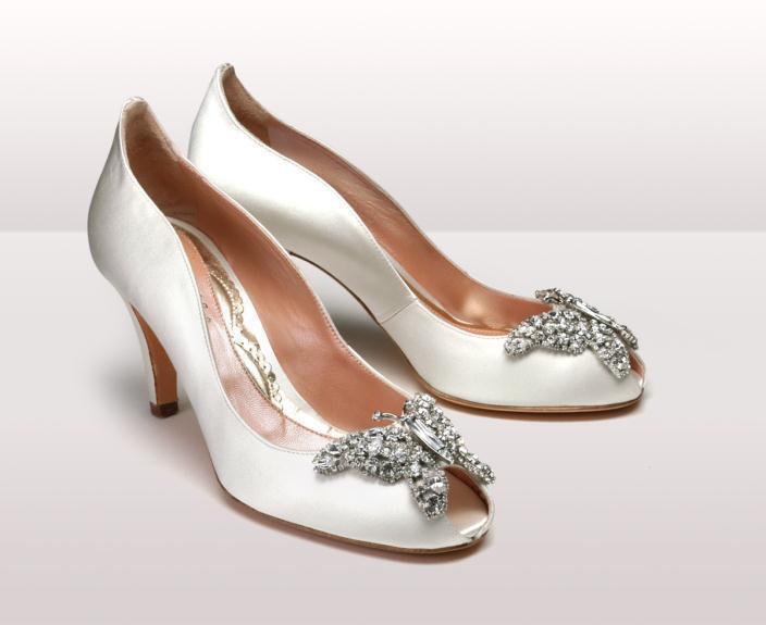 AS151 Farfalla Ivory Satin BG - Νυφικά παπούτσια  Aruna Seth Η νυφική της σειρά με πεταλούδες