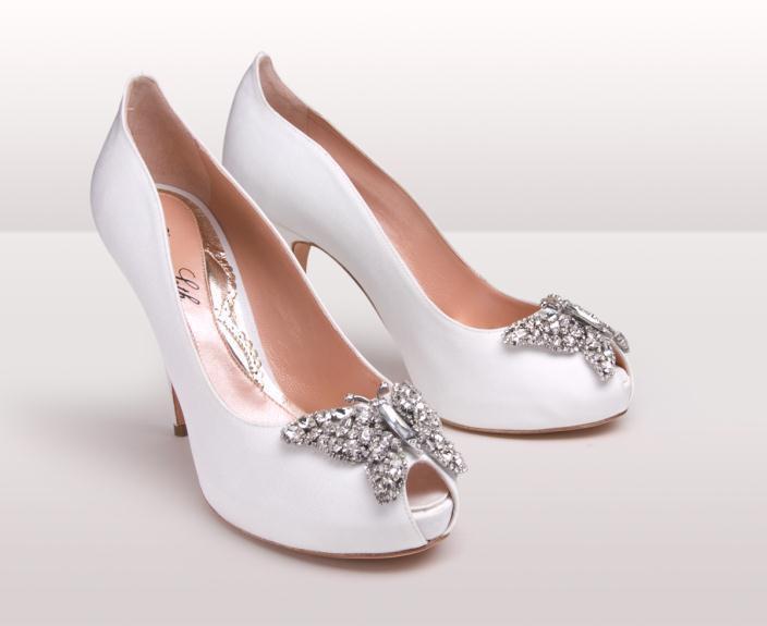 AS171 Farfalla white grosgrain BG - Νυφικά παπούτσια  Aruna Seth Η νυφική της σειρά με πεταλούδες