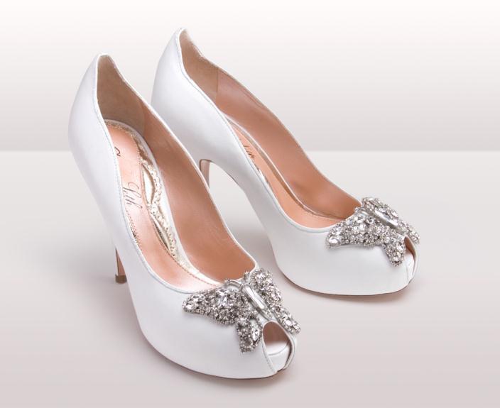 AS171 Farfalla white leather - Νυφικά παπούτσια  Aruna Seth Η νυφική της σειρά με πεταλούδες