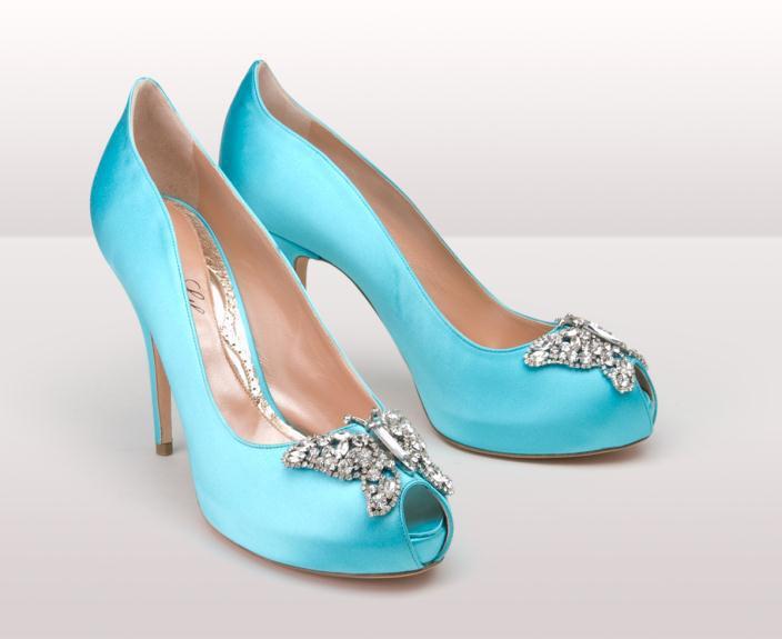 Farfalla Blue Satin pair bg - Νυφικά παπούτσια  Aruna Seth Η νυφική της σειρά με πεταλούδες