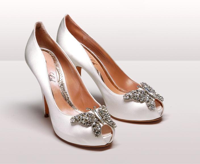 Farfalla Ivory Satin Peep Toe BG - Νυφικά παπούτσια  Aruna Seth Η νυφική της σειρά με πεταλούδες