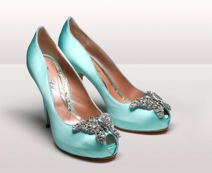 Farfalla aqua background - Νυφικά παπούτσια  Aruna Seth Η νυφική της σειρά με πεταλούδες