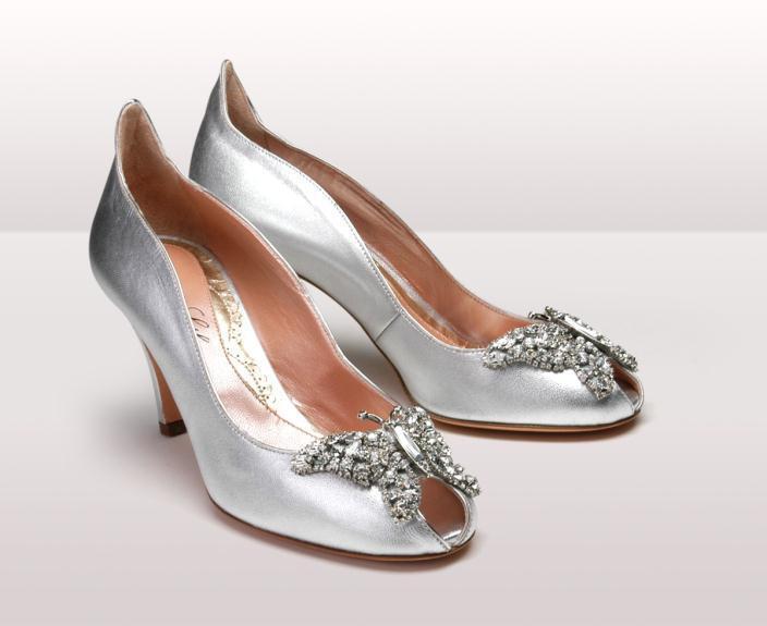 Farfalla silver leather kitten heel BG - Νυφικά παπούτσια  Aruna Seth Η νυφική της σειρά με πεταλούδες