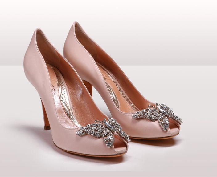 farfalla pink peep toe bg - Νυφικά παπούτσια  Aruna Seth Η νυφική της σειρά με πεταλούδες