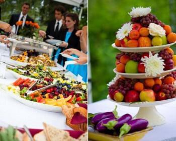 wedding reception dinner outdoor casual buffett style vibrant fruit  full 350x280 - Καλοκαιρινός γάμος Δεξίωση DIY: Πώς να διαμορφώσετε έναν οικονομικό μπουφέ μόνες σας!
