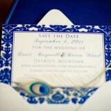 elegant navy ivory wedding save the date with peacock feather  full carousel 160x160 - Φτερά και Πούπουλα…δώστε στο γάμο σας άλλο «αέρα»!