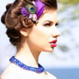 vintage wedding accessories bridesmaid updo red lips feather fascinator  full carousel 160x160 - Φτερά και Πούπουλα…δώστε στο γάμο σας άλλο «αέρα»!