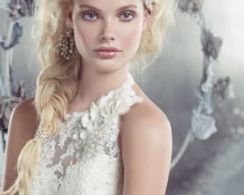 nifika 2013 alvina valenta bridal lace silk faced duchess fluted gown sweetheart halter jewel flower low back buttons 9302 zm 350x280 - Νυφικά Alvina Valenta Collection Άνοιξη 2013